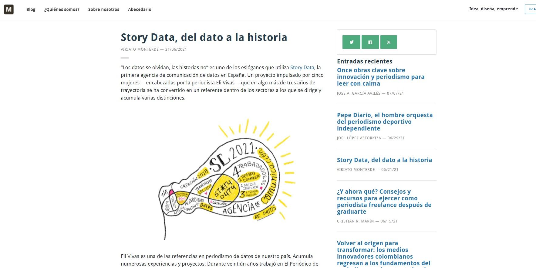 Artículo sobre Story Data publicado en el blog del MIP